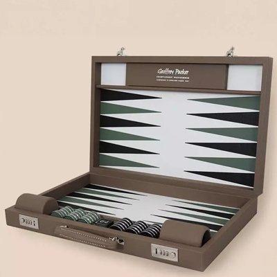 Luxury Backgammon Board | Custom Backgammon Board | Geoffrey Parker Backgammon | Leather Backgammon